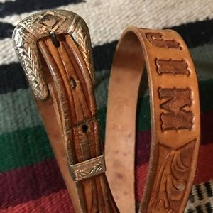 Accessories - Vintage Leather Etched Belt